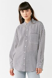 Urban Outfitters Uo Odette Striped Button Down Shirt Grey Multi