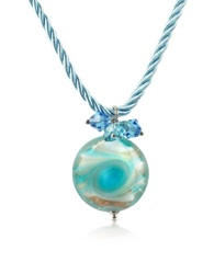 House Of Murano Vortice Turquoise Murano Glass Small Swirling Bead Necklace
