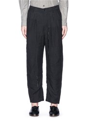 Ziggy Chen Patchwork Linen Curved Pants Black