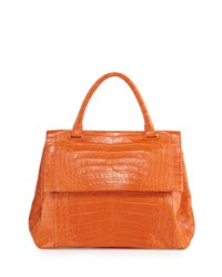 Nancy Gonzalez New Top Handle Crocodile Satchel Bag Orange