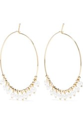 Mizuki 14 Karat Gold Pearl Hoop Earrings One Size