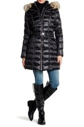 Dawn Levy Alicia Genuine Coyote Fur Trim Hooded Down Jacket Black