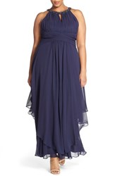 Plus Size Women's Eliza J Embellished Keyhole Neck Chiffon Dress Navy