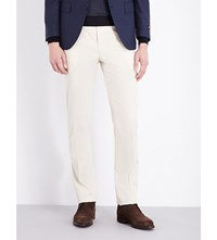 Corneliani Tailored Fit Straight Stretch Cotton Trousers Beige
