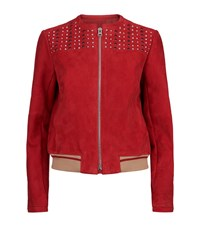 Pinko Studded Suede Bomber Jacket Female Red