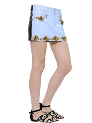 Ungaro Embellished Nappa Leather Mini Skirt Black Lt Blue
