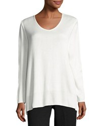 Ming Wang Long Sleeve Scoop Neck Knit Tunic Ivory