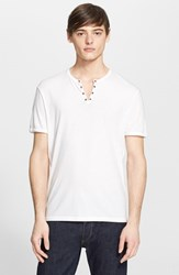 Men's John Varvatos Star Usa Short Sleeve Eyelet Henley Salt