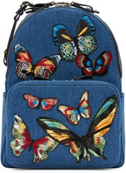 Valentino Blue Denim Embroidered Butterflies Backpack