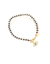 Lord And Taylor Hematite And Sterling Silver Evil Eye Charm Bracelet Black