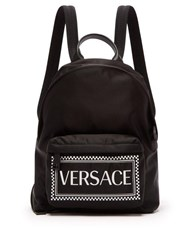 Versace Logo Print Leather Trimmed Backpack Black