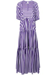 Maison Rabih Kayrouz Flared Striped Dress Pink And Purple