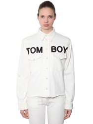 Filles A Papa Tomboy Cotton Denim Shirt White