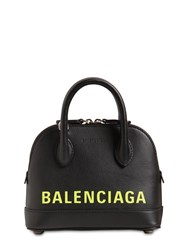 Balenciaga Xxs Ville Leather Top Handle Bag Black