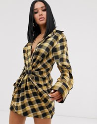 Lioness Knot Front Plunge Shirt Dress In Yellow Check Print Multi