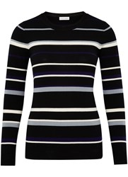 Austin Reed Multi Stripe Merino Jumper Black