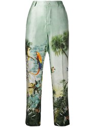 F.R.S For Restless Sleepers Cropped Tropical Print Trousers Green