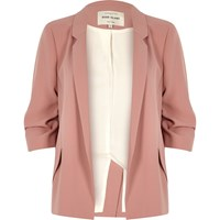River Island Womens Blush Pink Ruched Sleeve Blazer