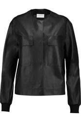 Dkny Leather Bomber Jacket Black