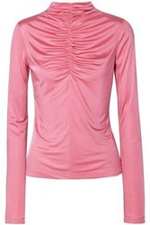 Cedric Charlier Woman Ruched Satin Jersey Top Pink