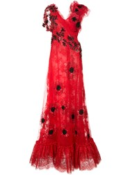 Rodarte Floral Lace Maxi Dress Red