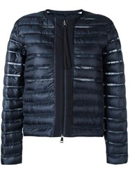 Moncler Sheer Panel Padded Jacket Blue