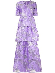Baruni Floral Flared Maxi Dress Purple
