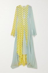 Lanvin Asymmetric Checked Silk Chiffon Gown Yellow