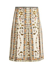 Alexander Mcqueen Obsession Print Pleated Skirt Cream Multi