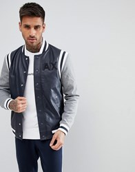 Armani Exchange Faux Leather Varsity Bomber In Navy