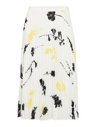 Linea Rose Printed Pleated Skirt White
