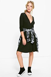 Boohoo Long Sleeve Wrap Over Skater Dress Black
