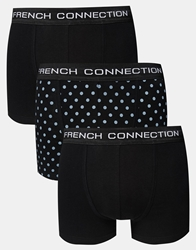 French Connection 3 Pack Trunks Black