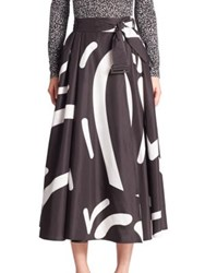 Max Mara Ali Printed Skirt Dark Grey