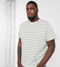 New Look Plus Stripe T Shirt In Khaki Green