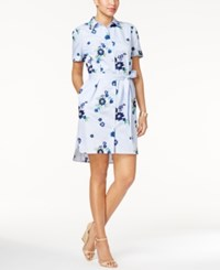 Eci Embroidered Shirtdress Blue Pinstripe W Embroidery