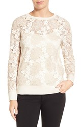 Halogenr Petite Women's Halogen Long Sleeve Lace Top Ivory Taupe Lace Pattern