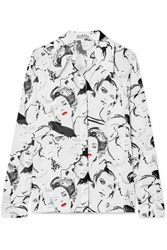 Michael Kors Collection David Downton Printed Silk Crepe De Chine Blouse White