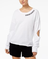 Material Girl Active Juniors' Cutout Graphic Sweatshirt Created For Macy's Bright White
