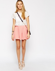 Glamorous Mini Skirt With Box Pleats Coral