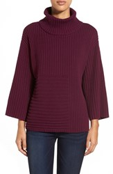Petite Women's Vince Camuto Ribbed Turtleneck Sweater Perfect Plum