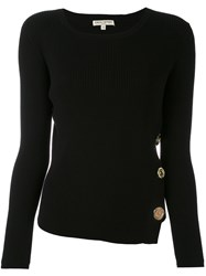 Each X Other Ribbed Knit Buttoned Sweater Women Cotton Spandex Elastane M Black