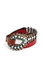 Marni Leather And Strass Bracelet Mint