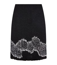 St. John Rose Embroidered Pencil Skirt Female Black