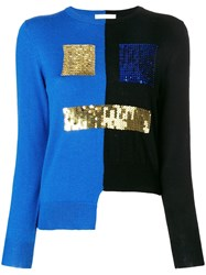 Peter Jensen Bicolour Sequin Face Sweater Black