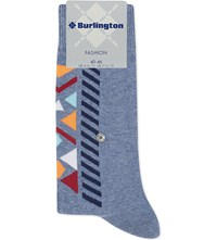 Burlington Geometric Print Cotton Blend Socks Denim Blue