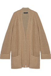 The Row Carissia Oversized Ribbed Cashmere And Silk Blend Cardigan Camel