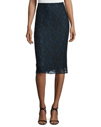 Nina Ricci Bicolor Lace Pencil Skirt Navy Women's Size 44 Black Blue
