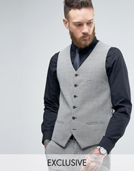 Heart And Dagger Super Skinny Waistcoat In Dogstooth Tweed Black White Grey