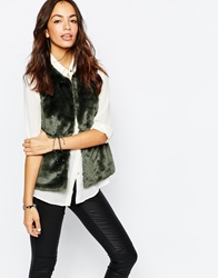 Only Faux Fur Gilet Green